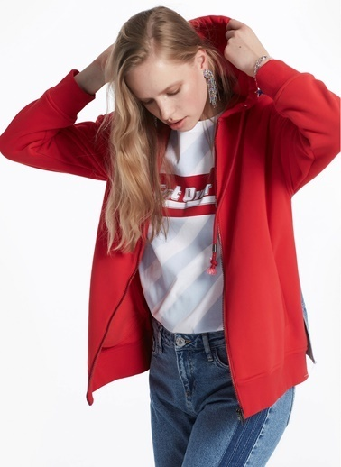 Twist Jean Kumaş Mixli Kapüşonlu Sweat Mont Kırmızı